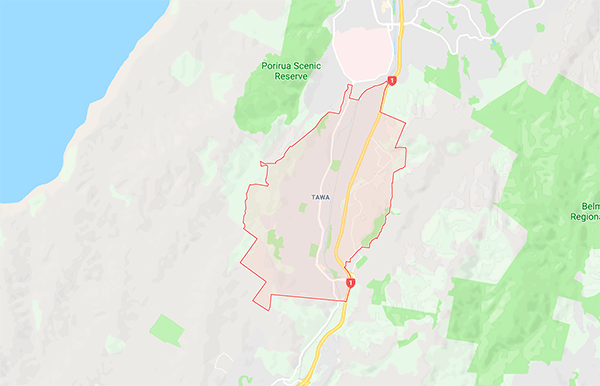 This is a map of tawa where we do gas fitting tawa for gas water heating gas hob installation and gas fitters tawa wellington nz