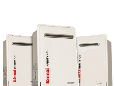 Rinnai INFINITY A-Series external gas continuous flow water heaters